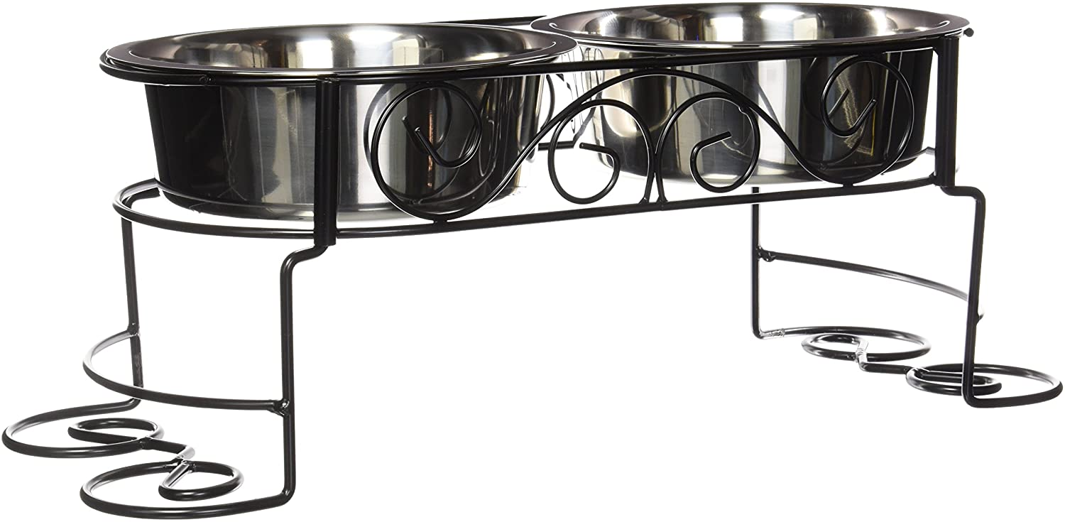 SPOT Mediterranean Double Diner Elevated Pet Bowls | Elevated Dog Feeder | Dog Feeder For Small Dogs | Elevated Dog Feeder For Medium Dogs | Elevated Dog Feeder For Large Dog |Stainless Steel Bowls