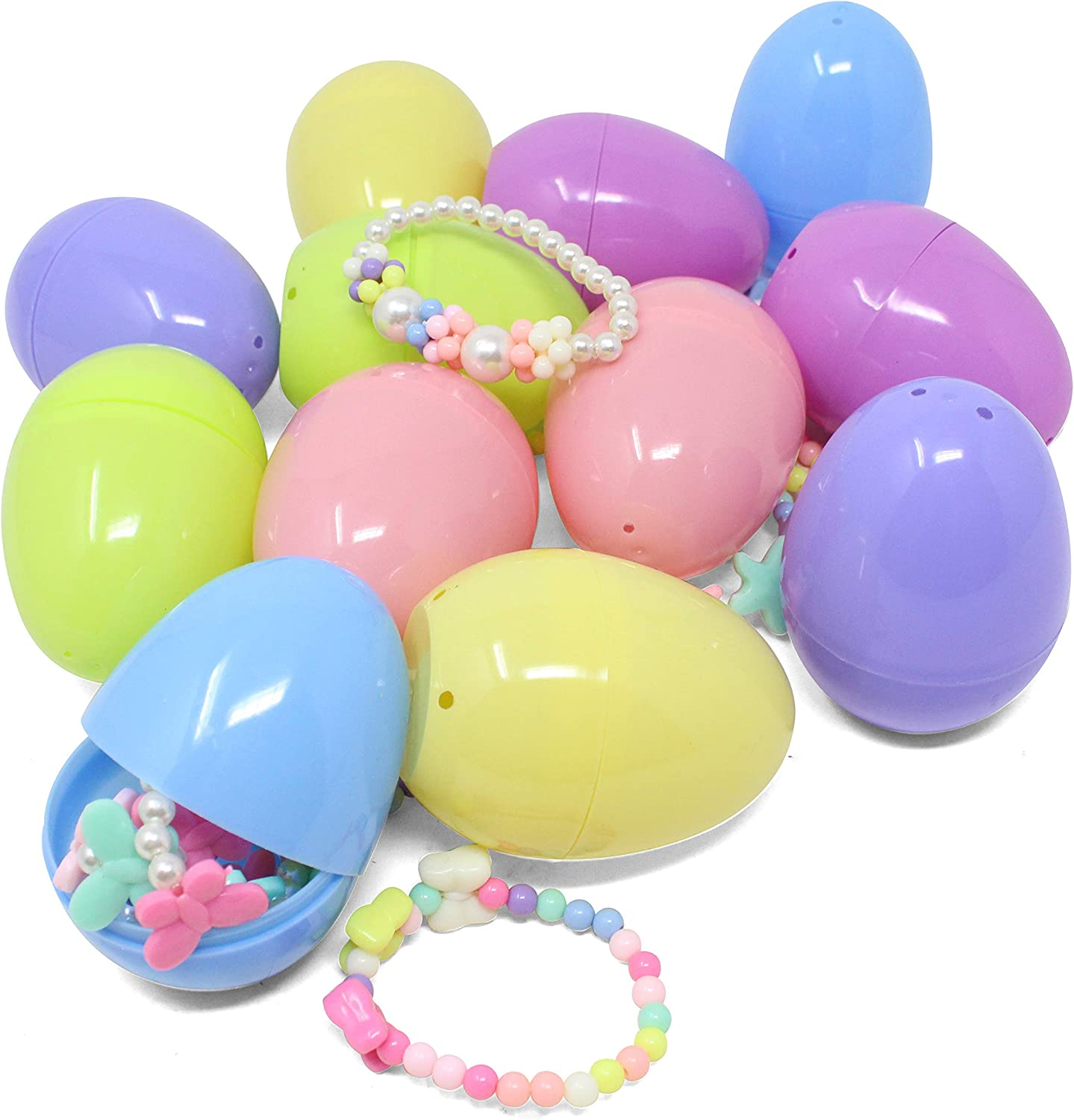 JOYIN 12 Pre-Filled Easter Eggs with 12 Different Designs of Necklaces and 12 Bracelets Girls Jewelry Set Easter Basket Stuffer Prefilled Easter Egg for Girls