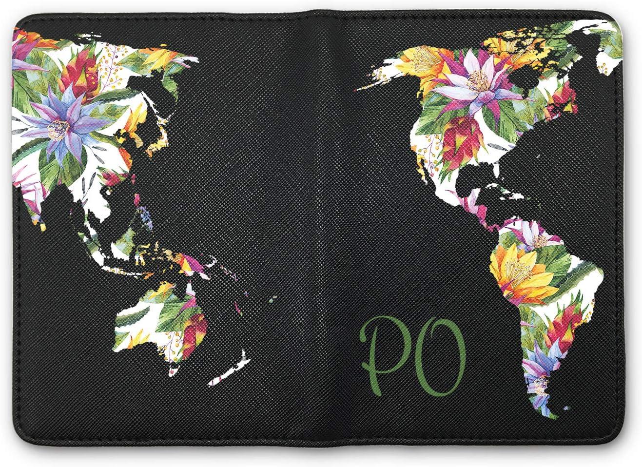 para Pasaporte Etiquetas Personalizadas Blanco Luggage Tag para Viajes de Piel Organizador de Viaje con dise/ño de Mapa del Mundo