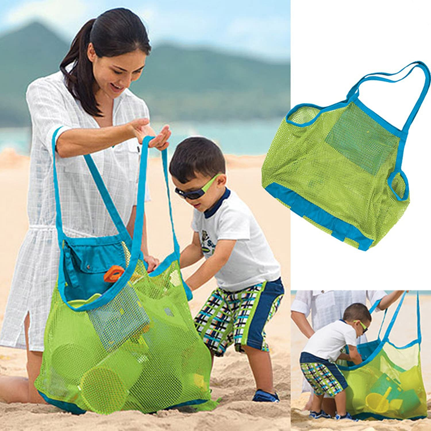 AnHua®Beach Tote Bag Sand Away Kids Toddler Toys Bags, Beach Towel, Clothes,all Mesh Swimming Clothes Beach Balls Towel (Swim, Toys, Boating. Etc.)- Xl Size- Stay Away From Sand and Water XB05