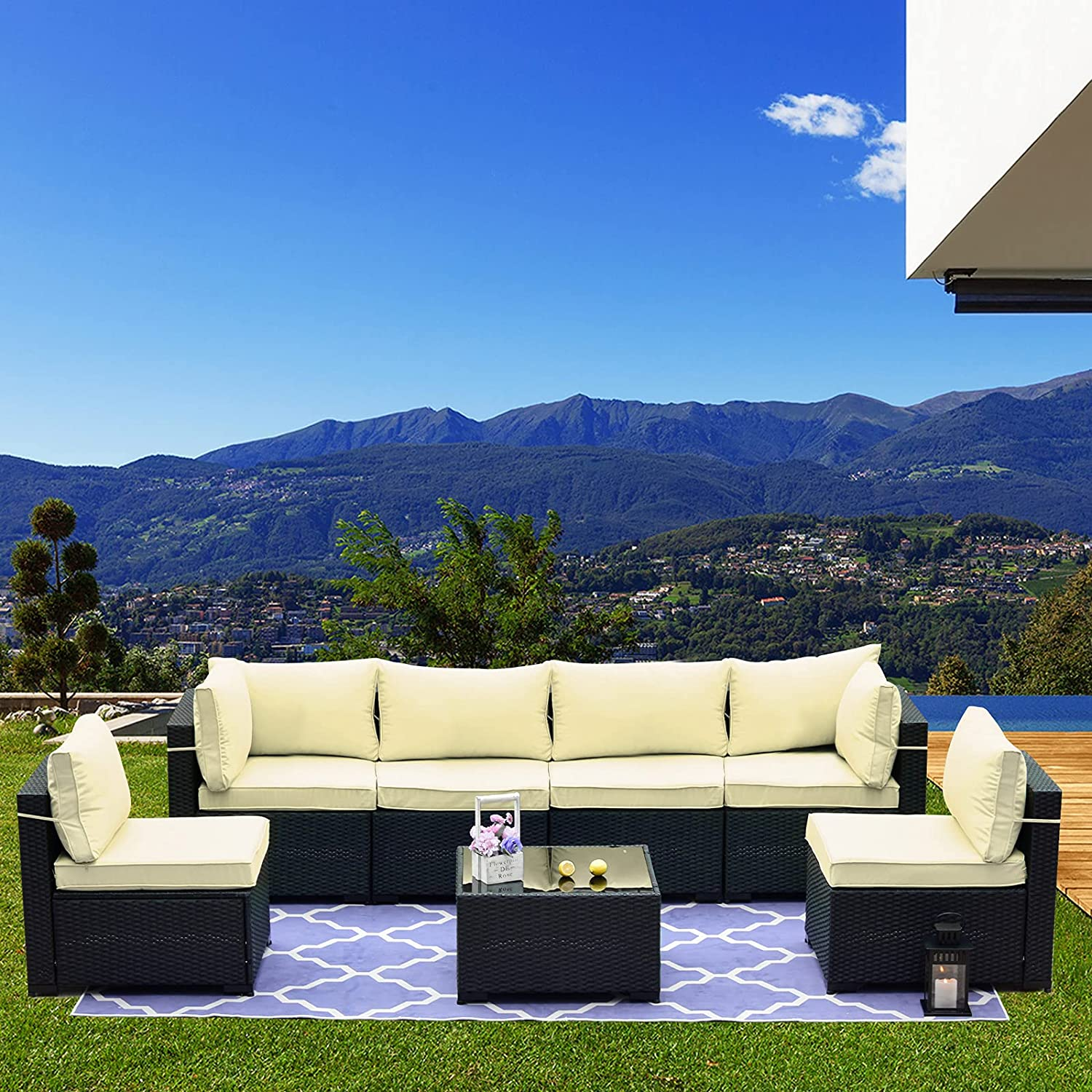 Kullavik Patio Furniture Set 7 Pieces Outdoor Sectional Rattan Sofa Set Black Manual Wicker Patio Conversation Set with 6 Cream Seat Cushions and 1 Tempered Glass Tea Table