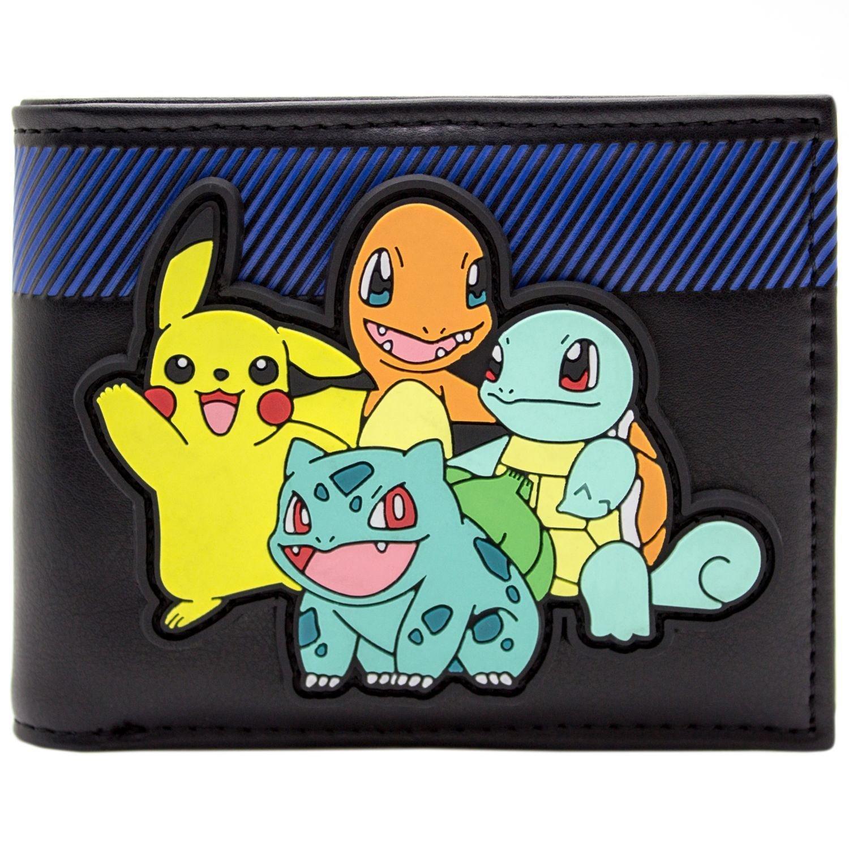 Pokemon Starter mit Pikachu auf Rubber Patch Schwarz Portemonnaie Geldbörse 29728