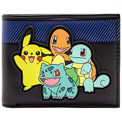 Cartera de Pokemon Arrancadores con Pikachu en goma Patch Negro
