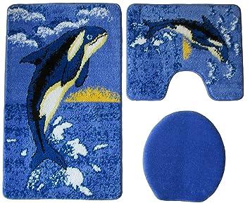 Badgarnitur 3 Teilig Blau Weiß Schwarz, Motiv Wal / Orca, Badteppich Mit  Ausschnitt