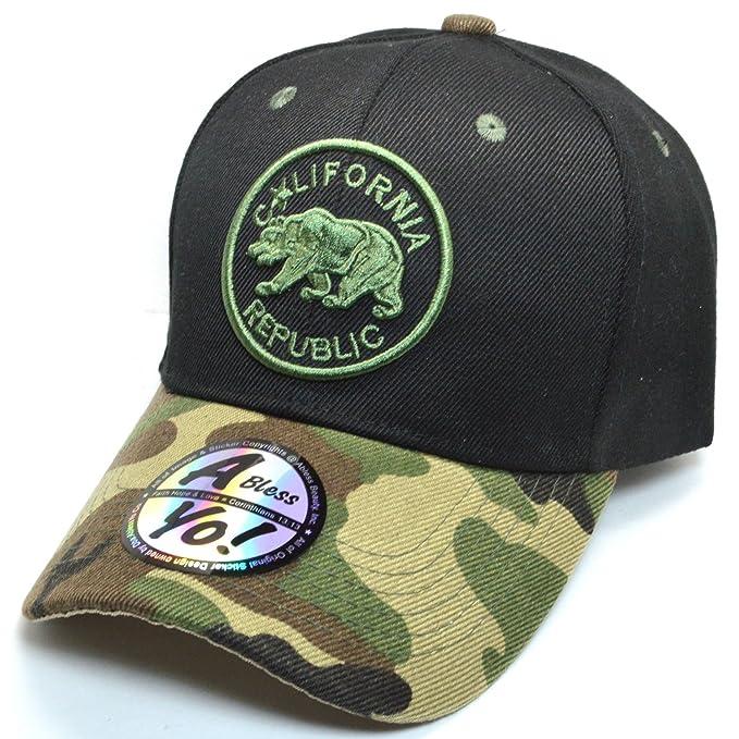 aada2c5b8d8c AblessYo California Republic Big Bear Fashion Baseball Cap Golf Sports Hats  AYO5034 (Black Military