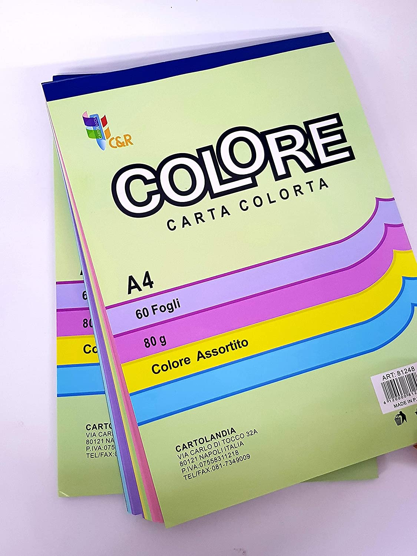 takestop® ALBUM BLOCK NOTES 60 FOGLI CARTA COLORATA colori ASSORTITI A4 ALBUM FOGLI 80gr SCUOLA UFFICIO MOON 10012411
