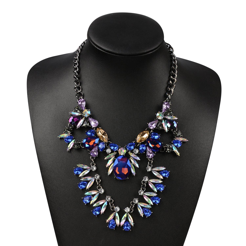 Holylove Maxi Blue Glass Unique Instagram Collar Choker Necklace-HLN52 Blue
