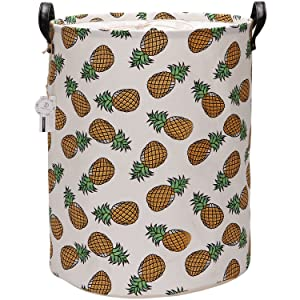 Sea Team Large Size Pineapple Design Canvas Fabric Laundry Hamper Collapsible Storage Basket with PU Leather Handles and Drawstring Cover for Kid's Room, 19.7 by 15.7 inches, Waterproof Inner