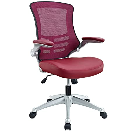 lexmod attainment office chair with burgundy mesh back and