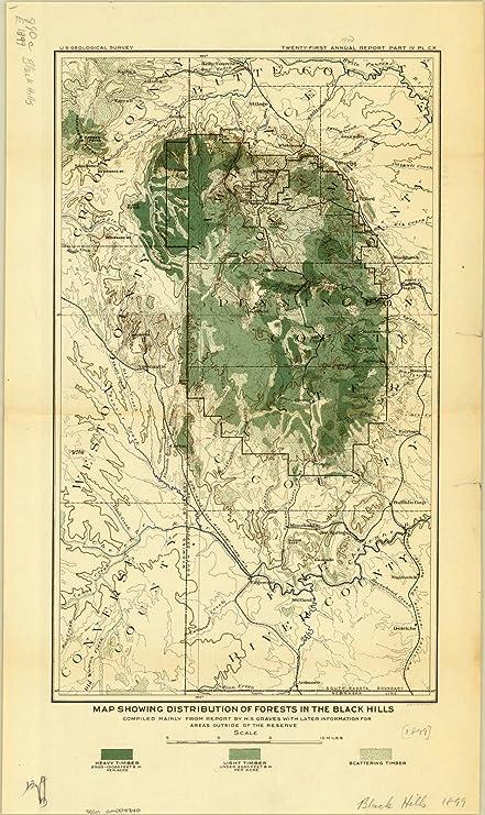 Amazon.com: Historic Map | Black Hills, South Dakota and Wyoming ...