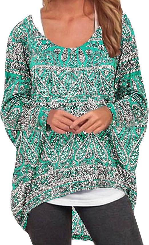 ZANZEA Damen Asymmetrisch Langarm Sweatshirt Blumen Jumper Pullover Oversize Tops