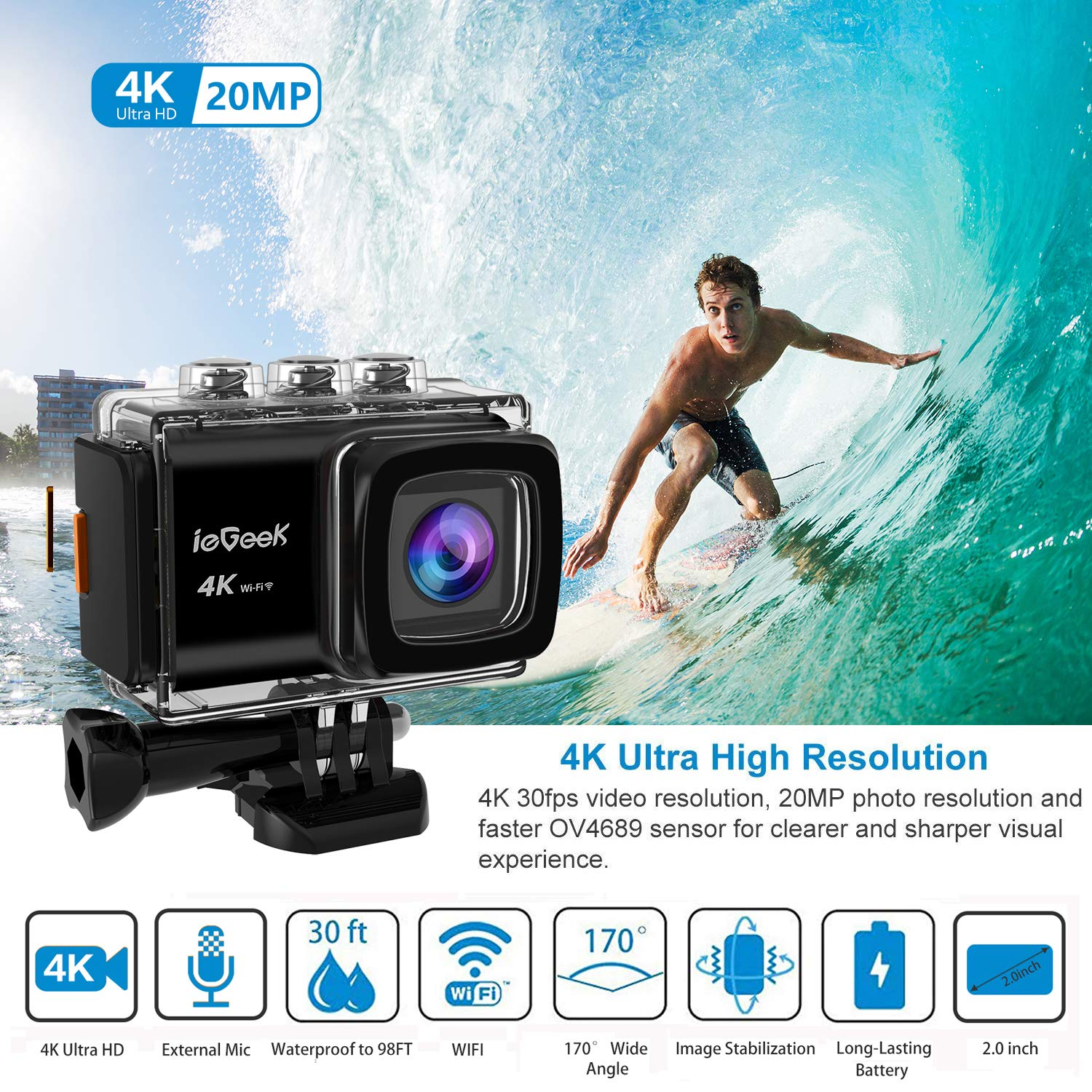 Action Camera, ieGeek 4K 20MP WiFi Waterproof Sports Cam Ultra HD Underwater Camera DV Camcorder EIS Image Stabilizer 170 Degree Wide-Angle with 2 Battery/External Microphone/Carry Case/Accessory Kit by ieGeek (Image #2)