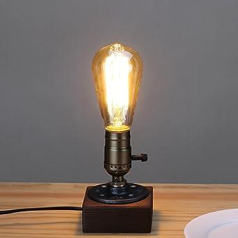Kiven Vintage 1 Light Table Lamp Industrial Style Desk Lamp Wooden Base  Decor Lighting Bulb