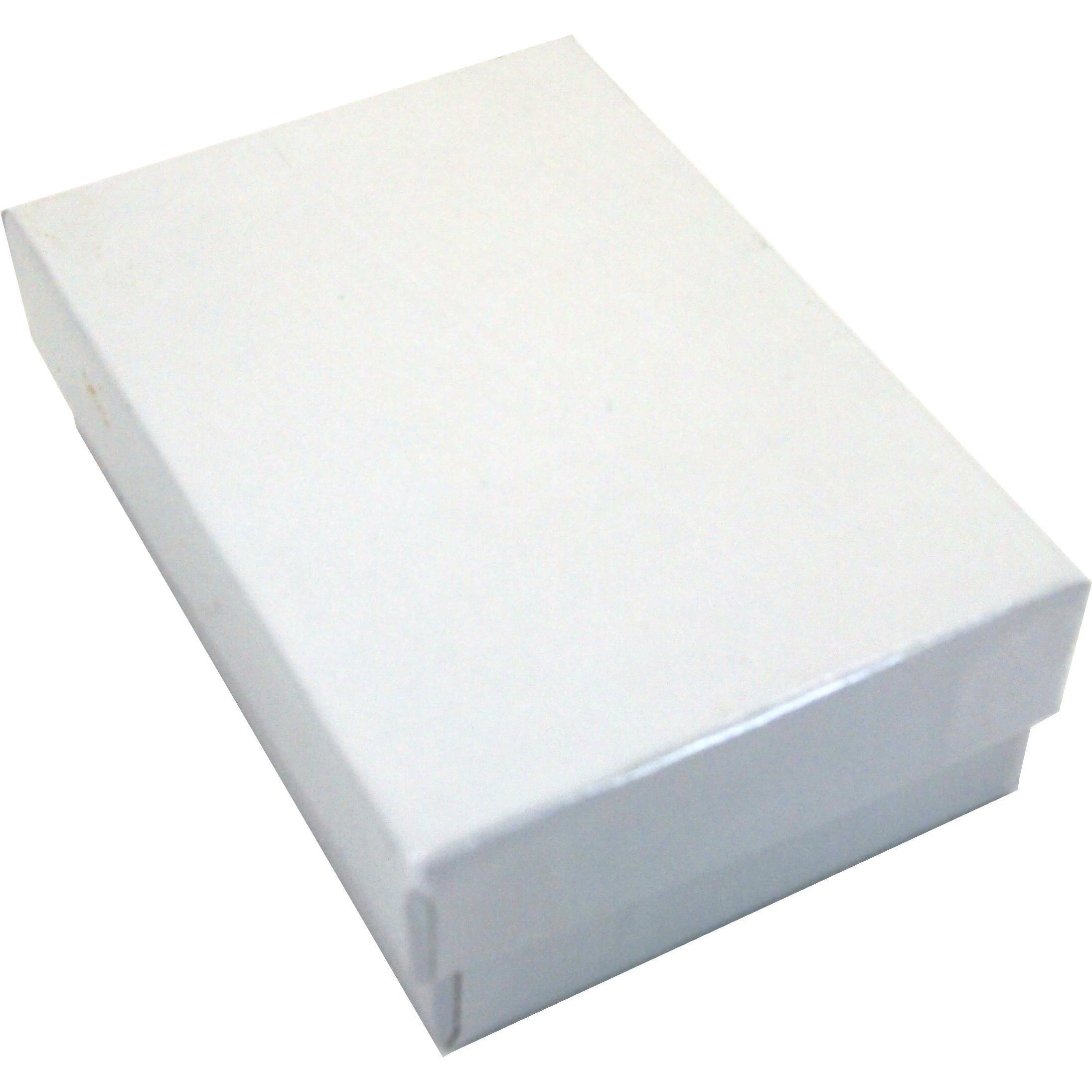 100 Cotton Boxes White Pendant Chain Jewelry Displays 3.25''