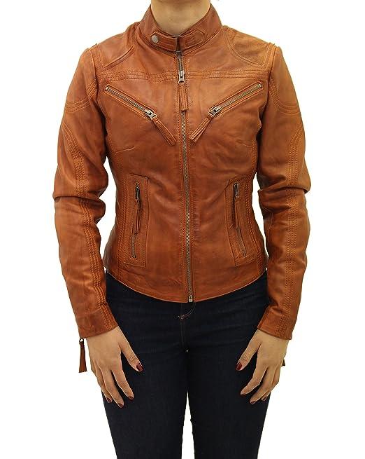 ddf4c95e482b A to Z Leather Donne Vera Pelle Montato Elegante Giacca Corto con Cerniera  Marrone del Motociclista  Amazon.it  Abbigliamento