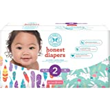 Honest Baby Diapers, Club Box, Painted Feathers & Bunnies, Size 2, 76 Count