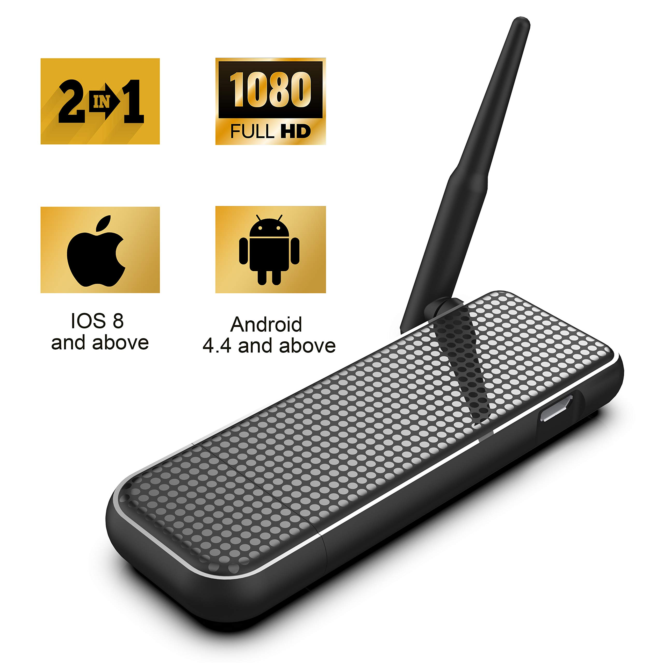Wireless Display Dongle 1080P WiFi Display Receiver for TV//Projector HDMI Adapter Portable Miracast Dongle Compatible with IOS iPhone iPad//MAC//Android Smartphones//Windows//Pixel//Nexus