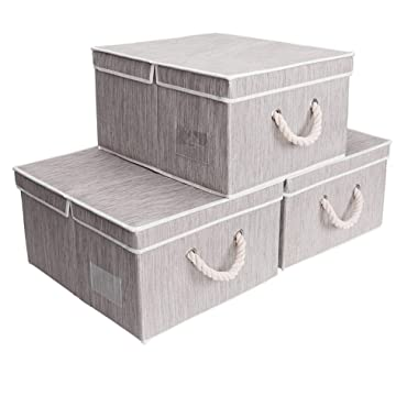 StorageWorks 40 L,Canvas Storage Box with Lid and Strong Cotton Rope Handle, Foldable Closet Organizer, Gray, Bamboo Style, Jumbo, 3-Pack