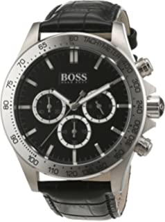 Hugo Boss Chronograph Stainless Steel Mens Strap Watch Black Dial 1513178