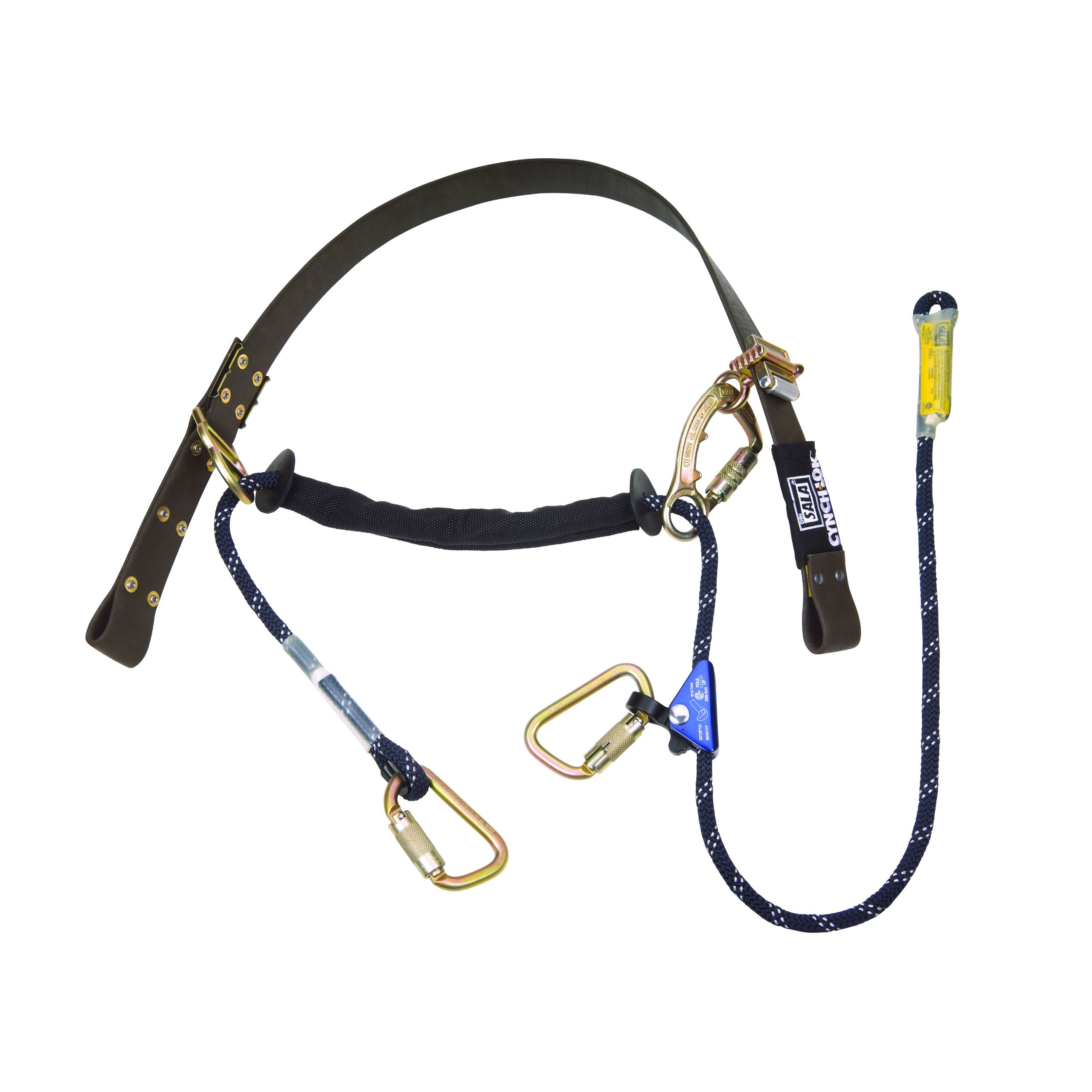 3M DBI-SALA Cynch-Lok 1204057 Fall Restriction Device, with Rope Lanyard For Distribution Poles Up To 185'' Dia, 58'' Circ, Brown/Blue