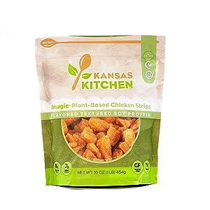 Kansas Kitchen - Imagic Plant-Based Chicken Strips - Flavored, Textured Vegetable Protein (1 pound)
