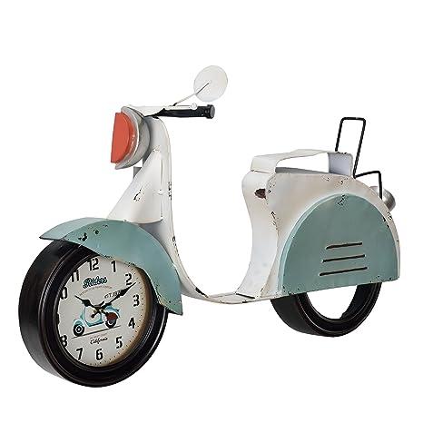 bddf6a67ec7b  en.casa ® Reloj de pared decorativo diseño motocicleta - con pantalla  analógica