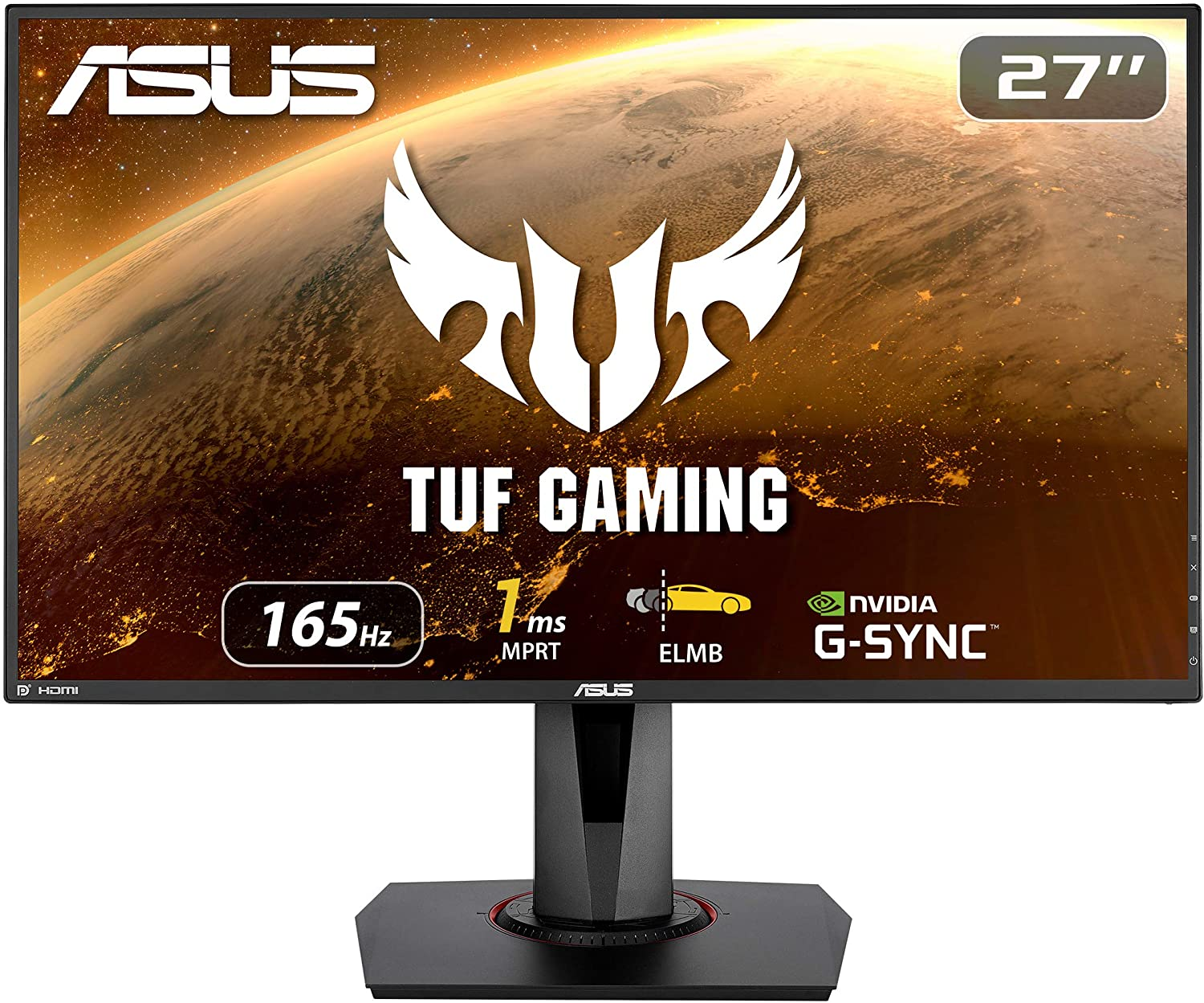 """ASUS TUF Gaming 27"""" 1080P Monitor (VG279QR) - Full HD, IPS, 165Hz (Supports 144Hz), 1ms, Extreme Low Motion Blur, G-SYNC Compatible, Shadow Boost, VESA Mountable, DisplayPort, HDMI, Height Adjustable"""