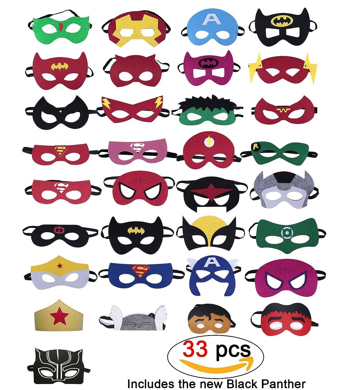 33 Piezas Máscaras de superhéroes, Suministros de fiesta de superhéroes, Máscaras de superhéroes de cosplay, Superhéroes Incluidos: Pantera negra, Capitán América, Superhombre, Hombre de hierro, Máscaras de media fiesta para niños o Niños y niñas mayores d