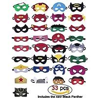 Maschere per supereroi da 33 pezzi, Supereroe per feste, Supereroe Maschere per Cosplay, Supereroi inclusi: Pantera nera, Capitan America, Superman, iron man, Bomboniere per bambini Mezze maschere per bambini o Ragazzi e ragazze per oltre 3 anni (33pc)