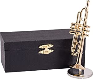 Broadway Gifts Gold Trumpet with Case and Stand Musical Instrument Replica Mini Figurine 5 Inch