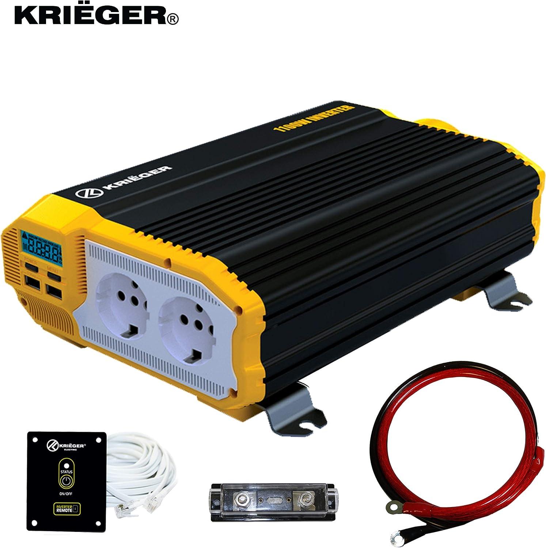 Inversor de Corriente Krieger 1100 Vatios Onda Modificada, Transformador/Convertidor 12V a 220V Portatil para Coche, 2 Puertos USB y 2 Tomas CA, Incluye Kit de Instalación - Aprobado bajo SGS y CE