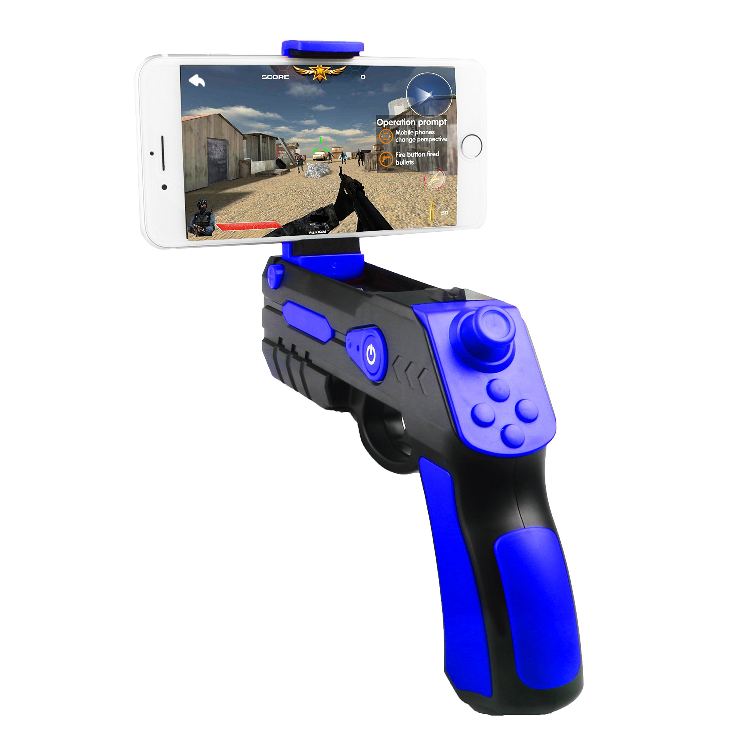 Upgrade AR Game Gun , Bluetooth AR Toys Gun, Ar Blaster with Joystick for iPhone Android Smart Phone (blue)