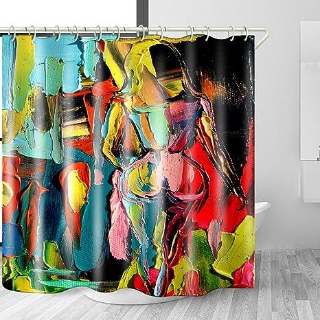 Waterproof Fabric Shower Curtain Liner Retro Colored Graffiti Bathroom Set Hooks