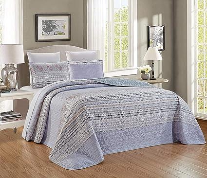Pale Blue Grey Paisley Quilt Reversible Cal King Size