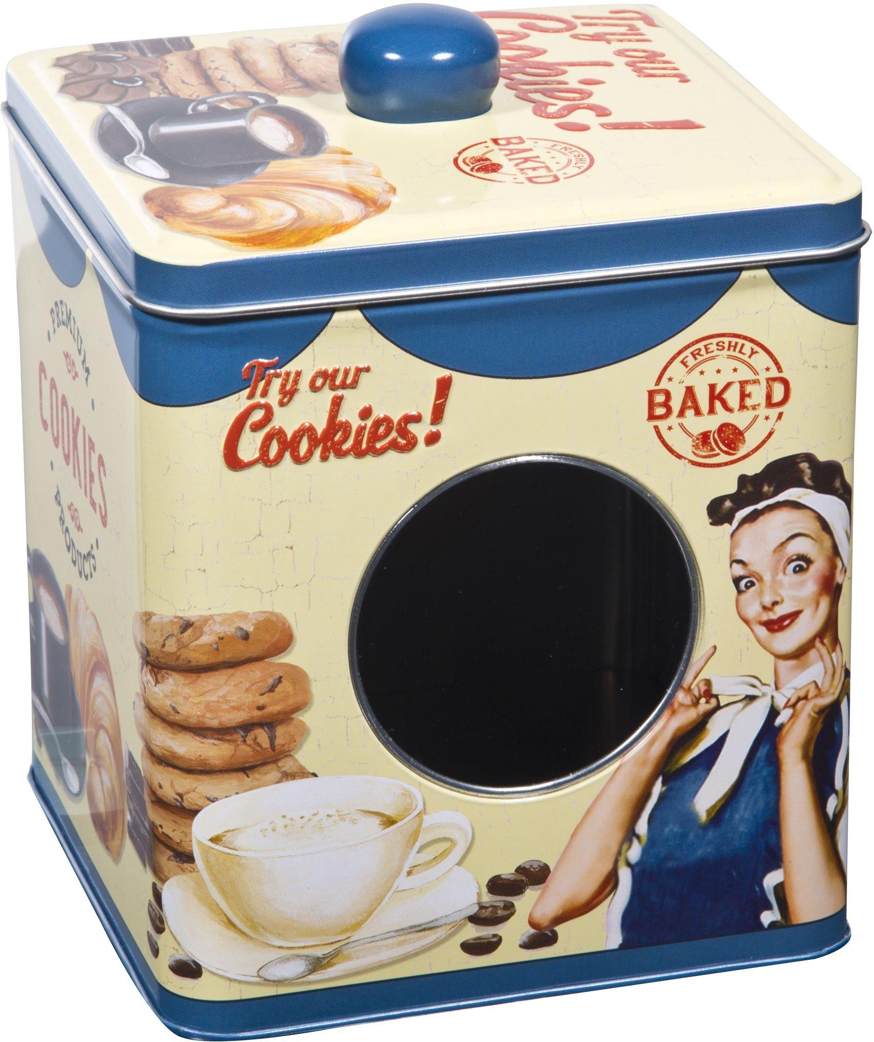 Kitchen Food Storage Tin Cookie, Tea, Sugar, Cupcakes Box With Window 5.75''H