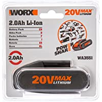 WORX WA3551 20V 2.0Ah MAX Lithium-ion Battery Pack with Battery Capacity Indicator