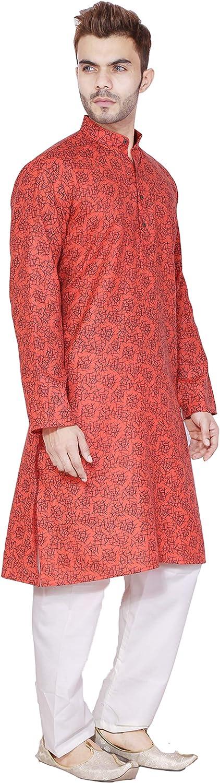 SKAVIJ Mens Cotton Kurta Pajama Set Casual Dress