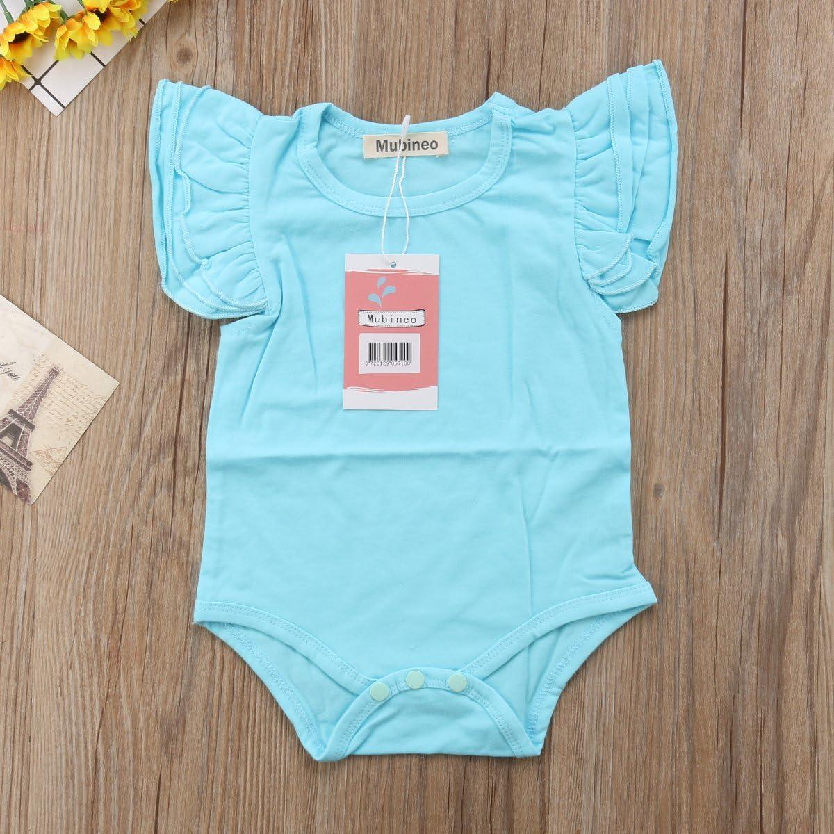 Infant Baby Girl Basic Ruffle Short Sleeve Cotton Romper Bodysuit Tops Clothes
