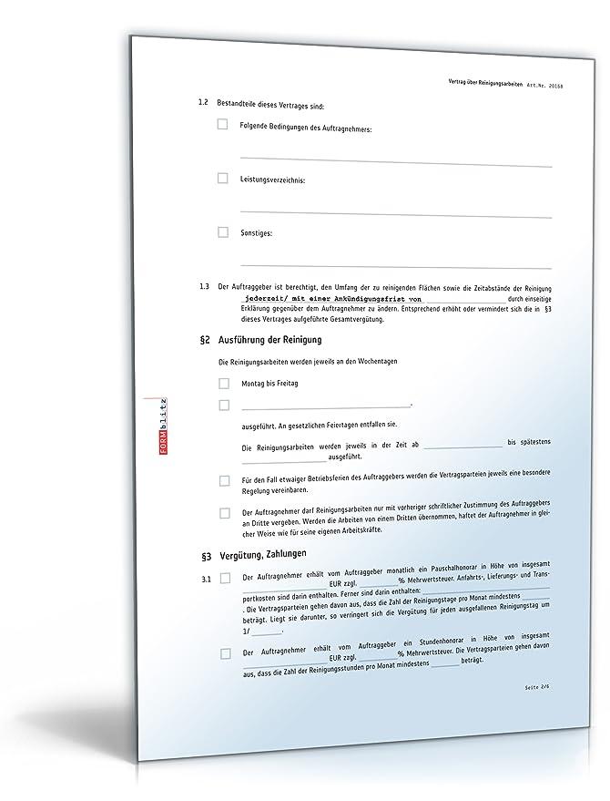 Reinigungsvertrag [PDF Download] [Download]: Amazon.de: Software
