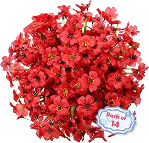 14 Bundles Artificial Flowers Outdoors UV Resistant Fake Flowers Plants for Outside Front Porch Window Box Decoration(Red)