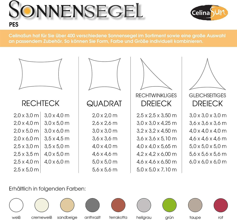 CelinaSun Tenda Parasole a Vela Giardino Balcone PES Poliestere Idrorepellente Rettangolare 3,5 x 4,5 m Bianco Crema