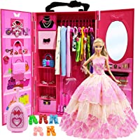 ZITA ELEMENT Doll Closet Wardrobe for 11.5 Inch Girl Doll Clothes and Accessories Storage - Lot 51 Items Including Wardrobe, Trunk, Casual Wear, Dress, Swimsuits, Hangers, Shoes, Bags and Necklaces
