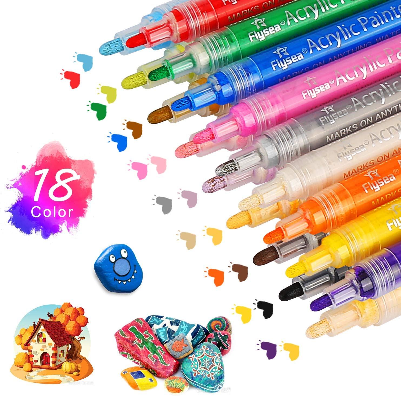 Zorara Rotuladores acrílicos de 18 colores para piedras, resistentes al agua, juego de pintura, rotuladores acrílicos, marcadores permanentes para ...