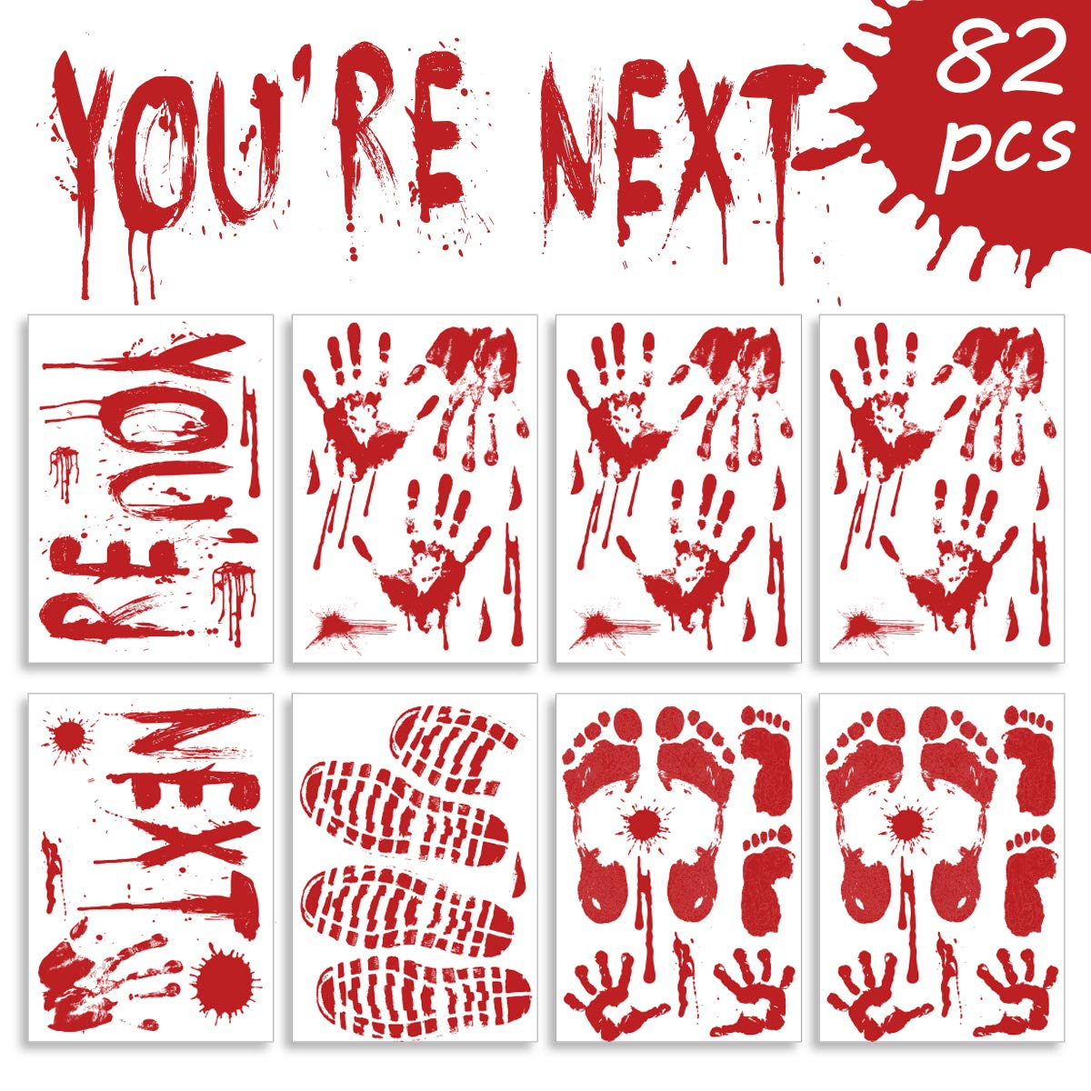 Halloween Bloody Hand Print Wall Door Stickers Scary Zombie Party Decorate US