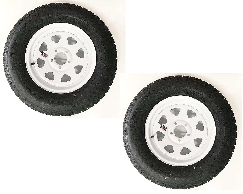 eCustomRim Two Radial Trailer Tires On Rims ST205/75R15 205/75-15 C 5 Lug Bolt White Spoke