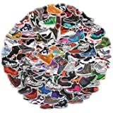 Yubbaex AJ Sneaker Stickers 100 Pcs Jordan Laptop Stickers Pack Cool Vinyl Waterproof Sticker for Pad MacBook Car Snowboard B