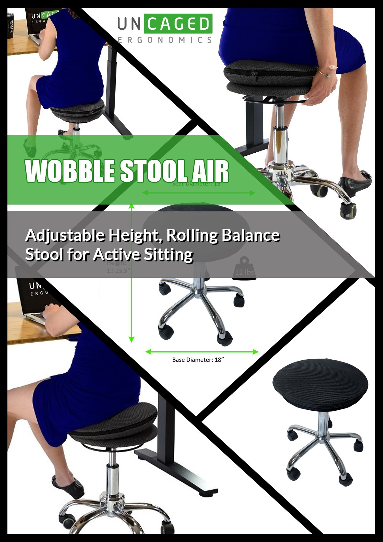 Uncaged Ergonomics WSA-b WOBBLE STOOL AIR Rolling Adjustable Height Active Sitting Balance Ball Office, Standing, Stand Up Desk Chair with Wheels Swivel Stable Rocking Tilting Black