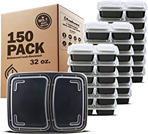 Freshware Meal Prep Containers [150 Pack] 2 Compartment with Lids, Food Storage Containers, Bento Box | BPA Free | Stackable | Plastic Containers, Microwave/Dishwasher/Freezer Safe (32 oz)