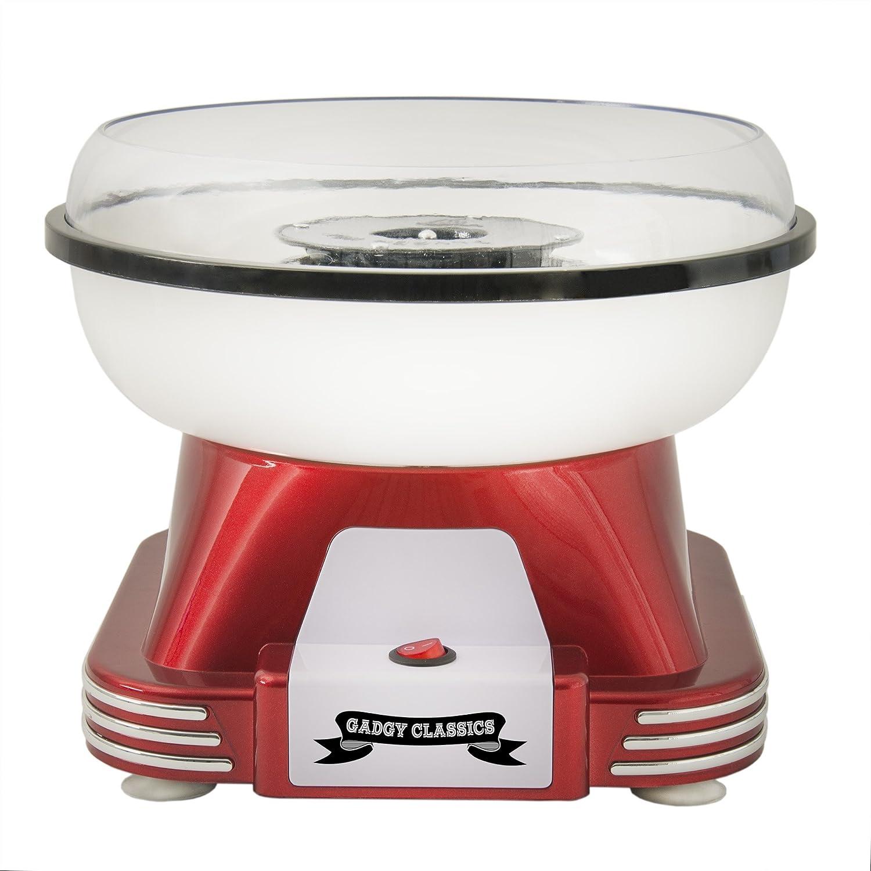 Gadgy ® Macchina per Zucchero Filato | Retro Cotton Candy Machine per Casa | Uttalizare Regolare Zucchero o Caramelle Senza Zucchero | 500W Rosso