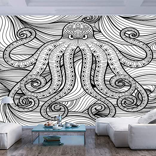 Amazon Com 55x30 Inches Wall Mural Kraken Octopus In The Sea Ethnic Mandala Style Pattern Artistic Tentacles Marine Decor Peel And Stick Self Adhesive Wallpaper Removable Large Wall Sticker Wall Decor For Home O Home